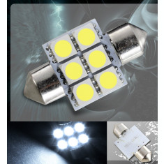 Led bec C5W FESTOON SOFIT 6 SMD 5050 31 mm de culoare alb