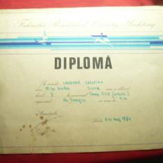 Diploma Federatia Romana Canotaj-Yachting pt Campionatul Romaniei 1974 Snagov