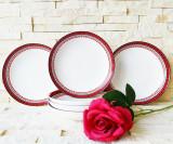 Set 6 farfurii portelan, 22 cm, cu bordura rosu, model traditional
