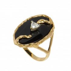Inel din aur galben 14K cu onix si diamant, circumferinta 61 mm