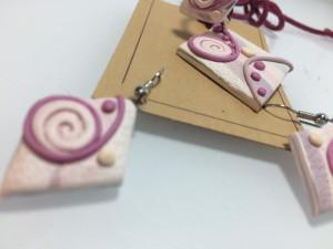 Set bijuterii facute manual Fimo, cercei, colier, inel