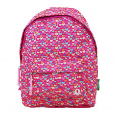Rucsac pentru fete Hearts United Colors of Benetton, 25 x 11 x 31 cm, model inimi