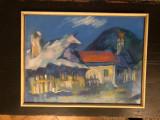 Tablou,pictura in pastel,peisaj rustic,semnat, Peisaje, Altul