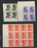 1934/35/40-CAROL II IMPERFORATE.NELISTATE MICHEL, BL DE4/ 6 MNH,RRR+, Nestampilat
