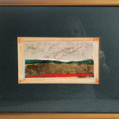 "PICTURA,TABLOU MODERNIST , ""Harta lumii"", NOUA , PICTOR CONSACRAT roman, inramat"