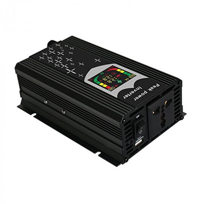 Invertor de tensiune cu display 12V-220V, putere 500 W, USB