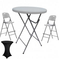 Set masa plianta rotunda inalta catering D80xH110cm cu 2 scaune pliante inalte si husa elastica neagra MN016694-8-66245 Raki