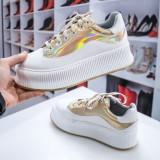 Pantofi sport dama alb auriu cu talpa groasa Benore-rl