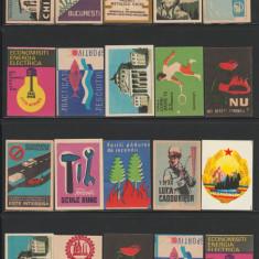 Mini Colectie de 20 etichete chibrituri romanesti perioada 1950-1970, RPR - RSR