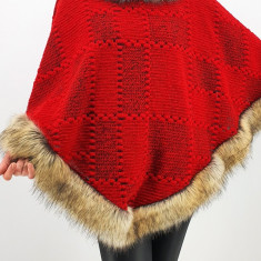 Poncho din lana cu blana 7