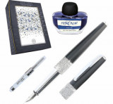 Set Online Crystal Celebrities, stilou cu cristale Swarovski negru, convertor, calimara cerneala