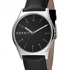 Esprit, Ceas quartz cu o curea de piele Essential, Negru