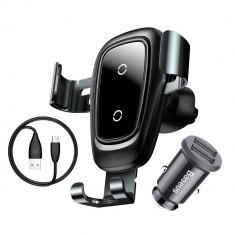 Set Baseus Suport Auto cu Incarcare Wireless + Priza Auto Fast Charge 3.1A Dual USB