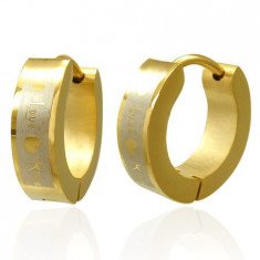 Cercei aurii din oțel chirurgical - Love Kiss