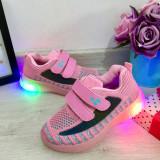 Cumpara ieftin Adidasi roz cu lumini LED si scai / pantofi sport usori pt fetite 31 cod 0756, Fete