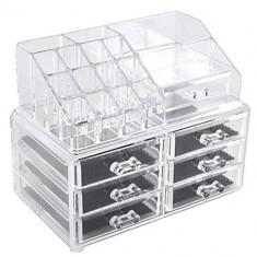 Organizator cosmetice din acril cu 16 compartimente si 6 sertare