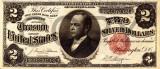 2 dolari 1891 Reproducere Bancnota USD , Dimensiune reala 1:1
