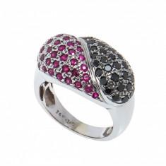 Inel din aur alb 14K, ornamentat cu rubine si diamante negre, 10.21gr, unisex