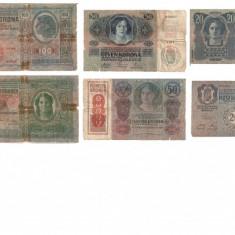 Lot de 6 bancnote -Austro Ungaria, Europa