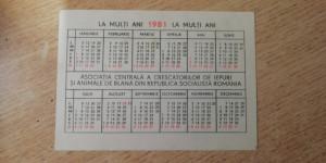CCO - CALENDARE FOARTE VECHI - ANUL 1981 - NR 1