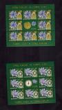 Romania 2013 Flora Ceasul Florilor 4 Minicoli 8 timbre + vinieta MNH, Nestampilat