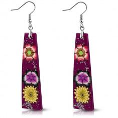 Cercei din FIMO - dreptunghiuri violet, flori şi sclipici
