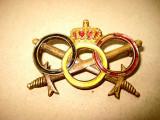 A725-Insemn regal vechi cu sabii incrucisate. Bronz aurit si emailat anii 1900.