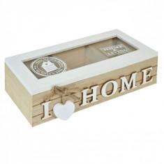 Cutie de depozitare din lemn, model cu 3 compartimente, 24x10x7 cm