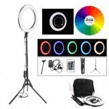 Cumpara ieftin Lampa Circulara Make up Profesionala cu LED RGB, Ring Light 46 CM si 544 LED- uri cu 19 culori diferite,Lumina Rece/Calda Tip Inel, cu Trepied 180cm,