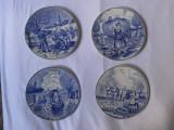 """Set 4 farfurii decor """"Cele patru anotimpuri"""",marcate Royal Delft Blue,19cm"""