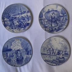 """Set 4 farfurii decor """"Cele patru anotimpuri"""",marcate Royal Delft Blue,9cm"""