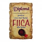 Magnet Diploma pentru Cea mai buna FIICA din lume, lemn, Alexer
