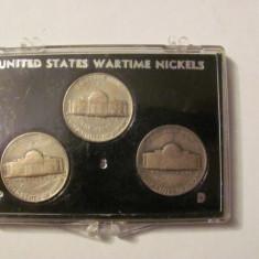 CY - Set 3 monede 5 centi / nickels SUA USA / Cu - Ag - Mg / WW2 cutie + suport
