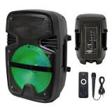 Boxa portabila LED, 15 W, 2200 mAh, USB/SD/BT/FM, telecomanda, General