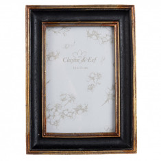 Rama foto lemn negru auriu 14*2*19 cm