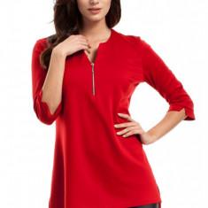 Bluza asimetrica cu fermoar la decolteu, 2XL, L, M, S, XL, Rosu