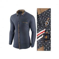 Camasa pentru barbati bleumarin flex fit elastica casual cu guler genesis II