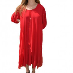 Rochie eleganta Alana din voal,nuanat de rosu