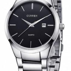 Ceas de mana barbati elegant, argintiu/negru, Curren - M8106N