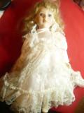 Papusa de colectie  Mireasa-Leonardo Colectors-Sylvia,cap ,maini portelan h=40cm