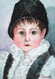 Acuarela portret de copil in straie taranesti -tablouri tablou picturi