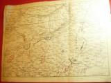 Harta Militara a Romaniei cu Situatia Frontului la 23 August 1916 dim.=32x23,7cm