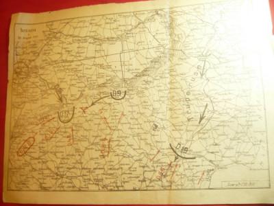 Harta Militara a Romaniei cu Situatia Frontului la 23 August 1916 dim.=32x23,7cm foto