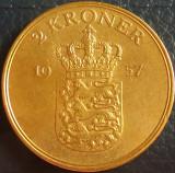 Moneda 2 COROANE - DANEMARCA, anul 1957 *cod 3499 C♥S = excelenta, Europa