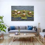 """Tablou imprimat pe pânză canvas """"- 60x80 cm- NUFERI"""