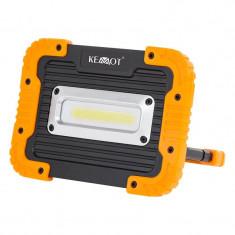 Proiector cu acumulator IP44, 10 W, 900 lm, 4000 K, 1 x LED COB, Kemot