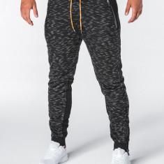 Pantaloni barbati negru slim cu banda siret si buzunare P640