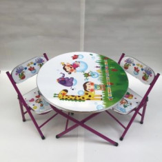 Masa rotunda si scaune pliabile pentru copii