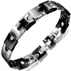 Brățară din tungsten, piese de puzzle negru cu argintiu