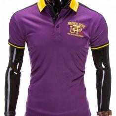 Tricou pentru barbati polo, violet, logo piept, slim fit, casual - S508